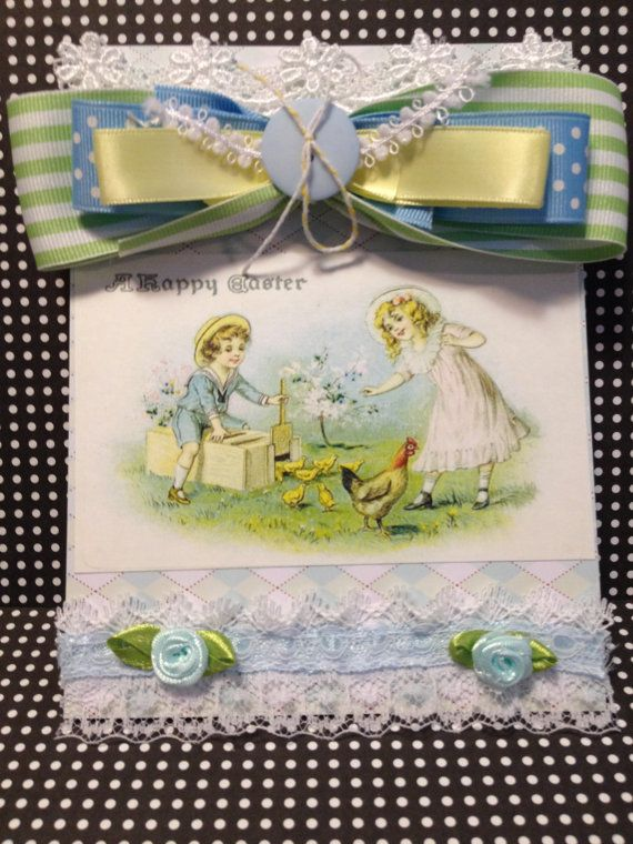 Easter Card, Vintage Style, Handmade Card, Embellished ...