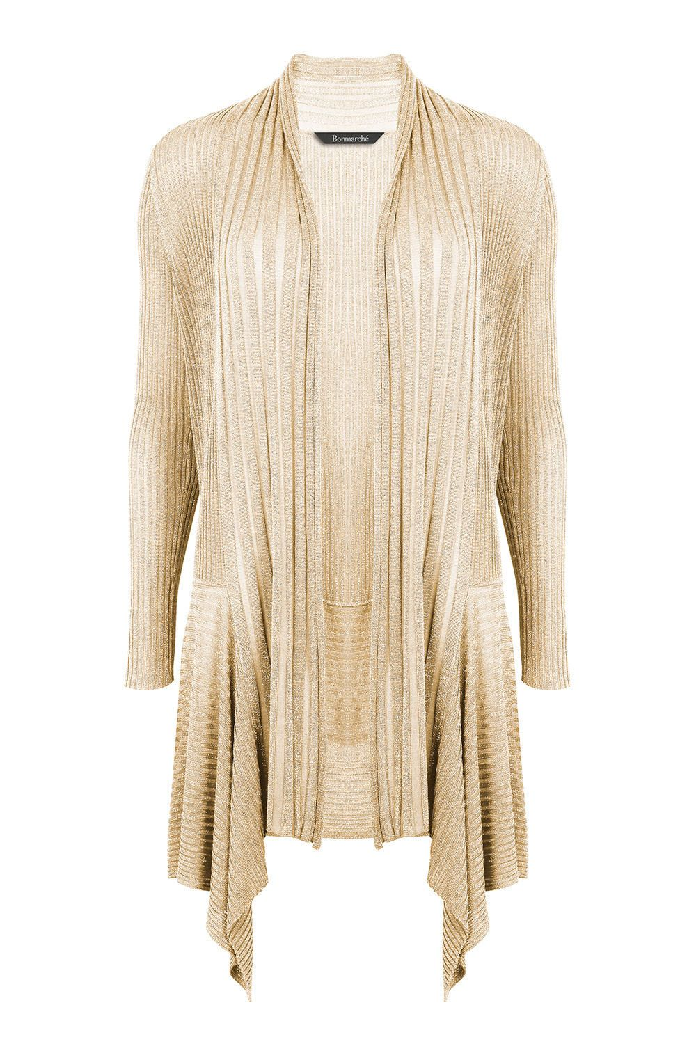 David Emanuel Womens Metallic Rib Waterfall Cardigan Stone Size M ...