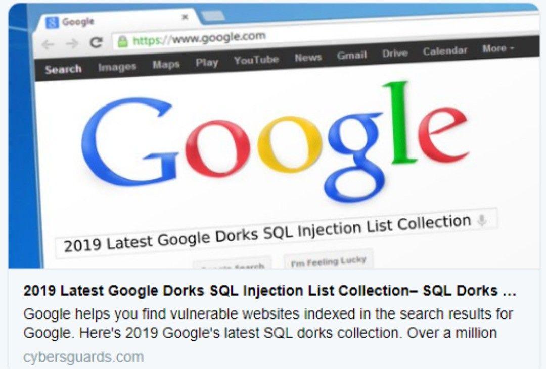 2019 latest google dorks sql injection list collection