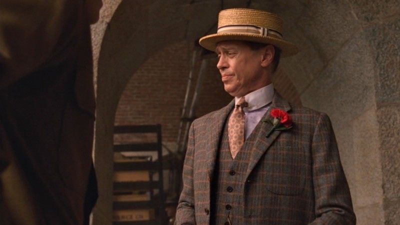 "5a7b9e8a21c Steve Buscemi wears a straw boater hat as Enoch ""Nucky"" Thompsonin  Boardwalk…"