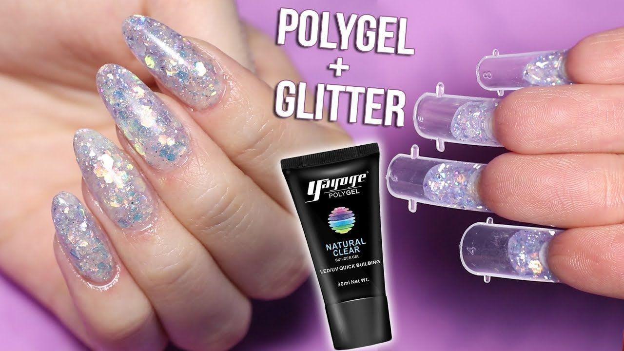Mixing Polygel And Glitter Dual Form Nails Diy Acrylic Nails Nails Gel Nails