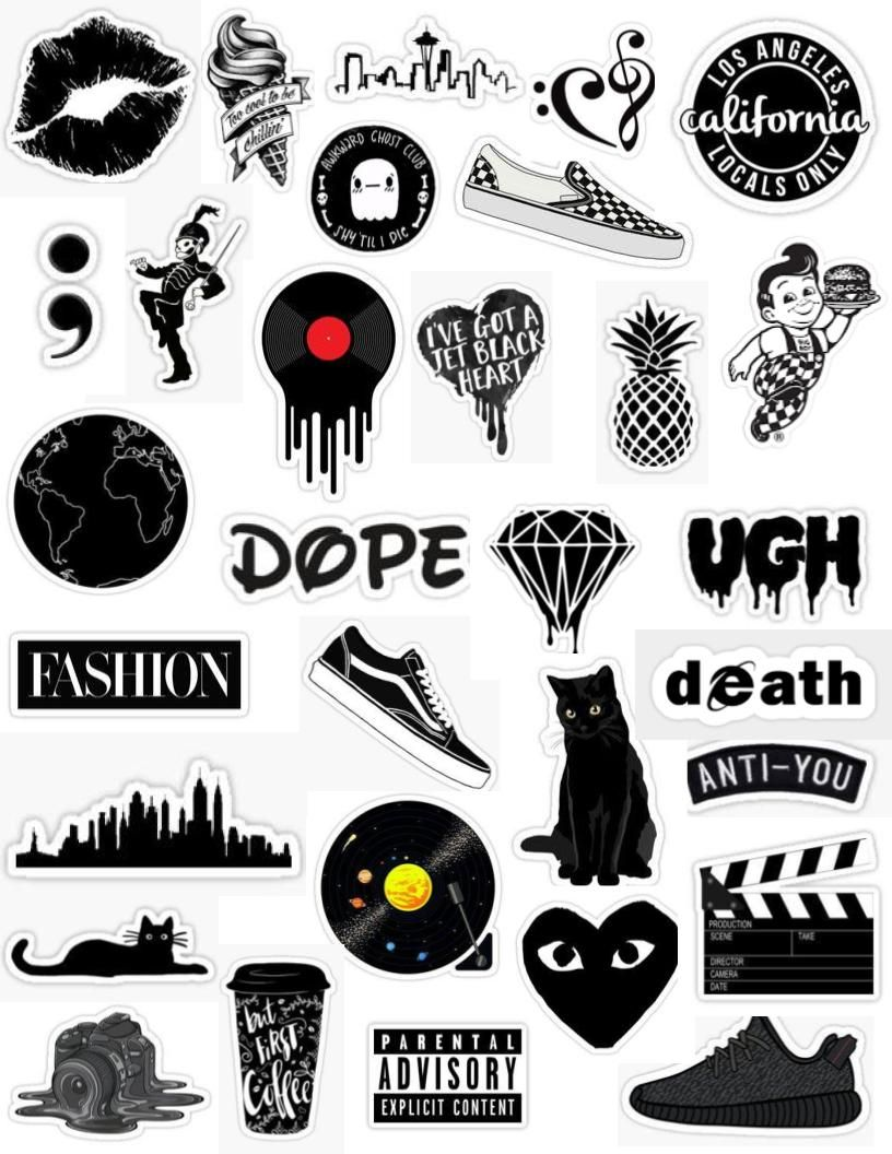 Black Aesthetic Sticker Pack Black And White Tumblr Edit