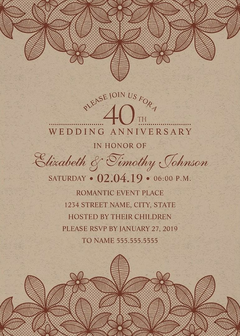 Unique Luxury Wedding Anniversary Invitations Feature A Beautiful Rustic Lace Stylish Typography On Kraft Paper Background