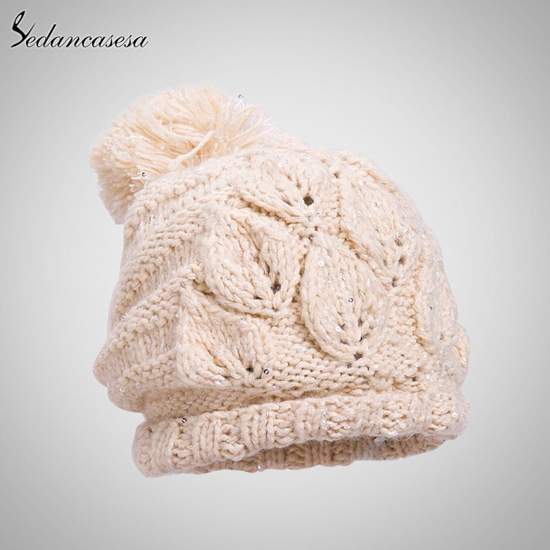 Keep Warm Classic Tight Knitted Fur Hat Winter Women Cap Solid ...