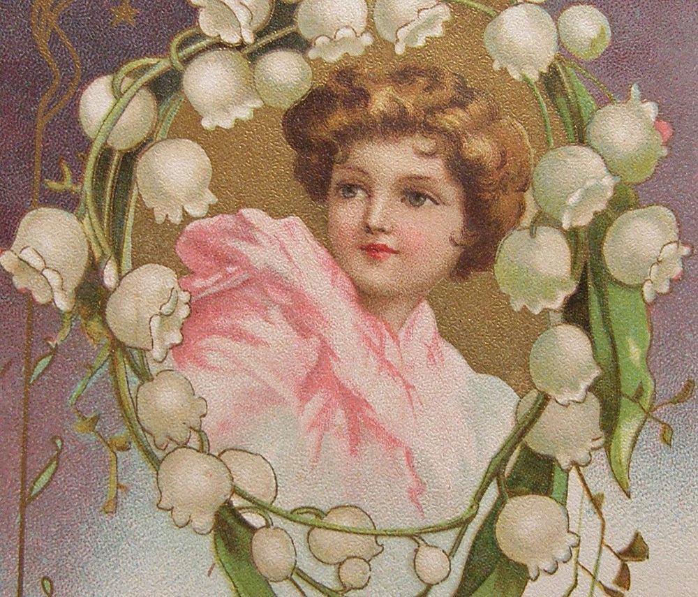 Clapsaddle - Girl in pink , Lily of the Valley , Art Nouveau Trim- gold accents