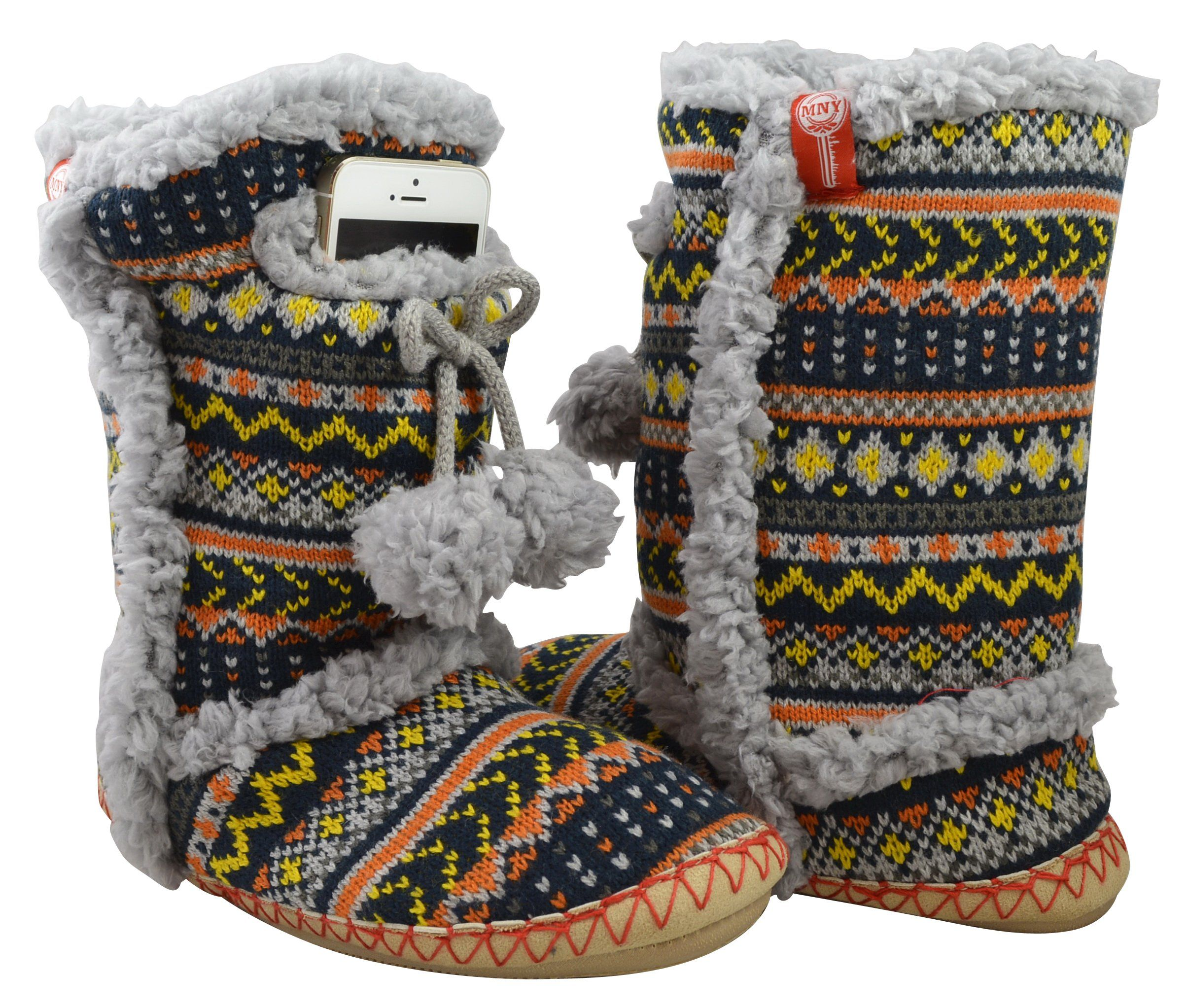 MINX NY - NAVAJO PATTERNED INDOOR/OUTDOOR BOOTIES WITH CELL PHONE ...