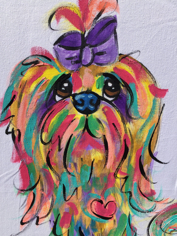 Dog Art / Dog Painting / Canvas / Dog Gift / Dog Portrait / Whimsical Dog / Custom Painting / Debby Carman /  Faux Paw Productions