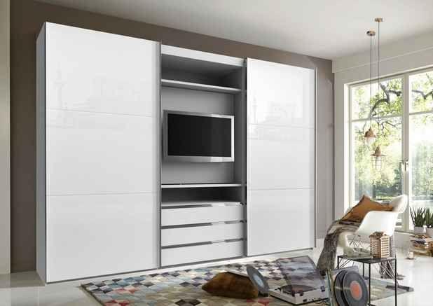 Schwebetürenschrank mit TVFach und Spiegel schlafwelt