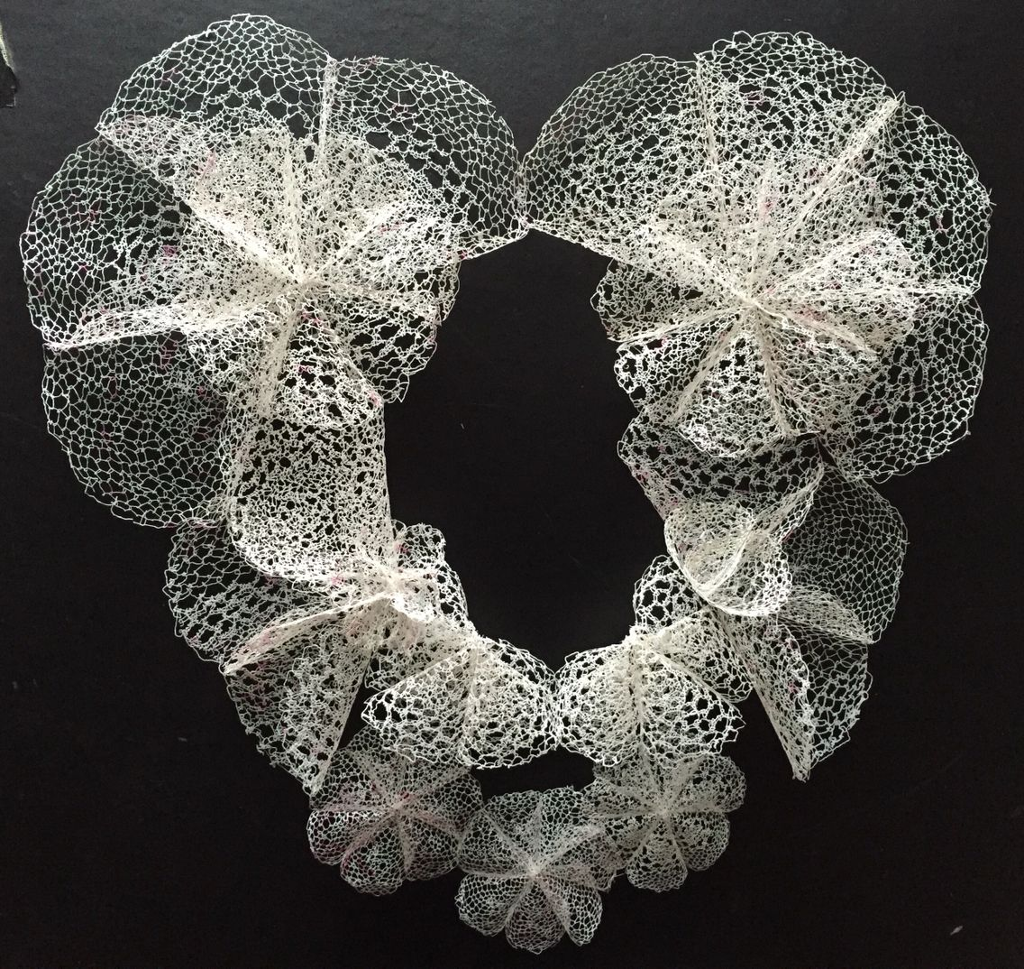 Eternal Lace 21st Century Ruff. Created using hand needle made lace from waste plastic bags.