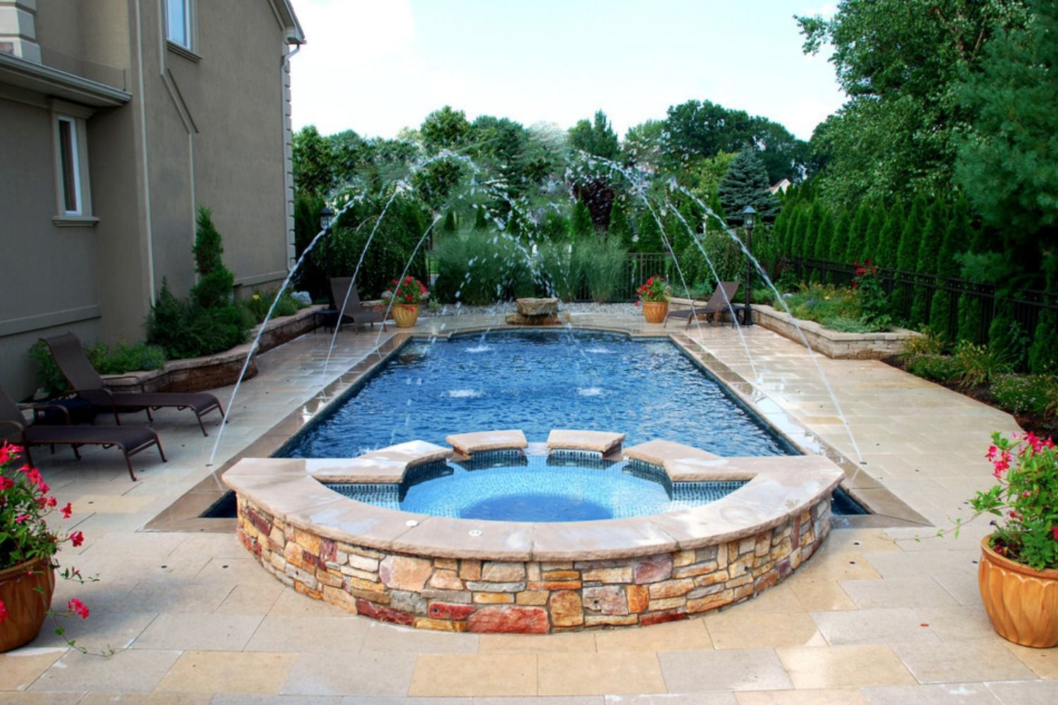 Built In Pool Fountains Google Search Pool Waterfall Swimming Pool Remodeling Pool Fountain