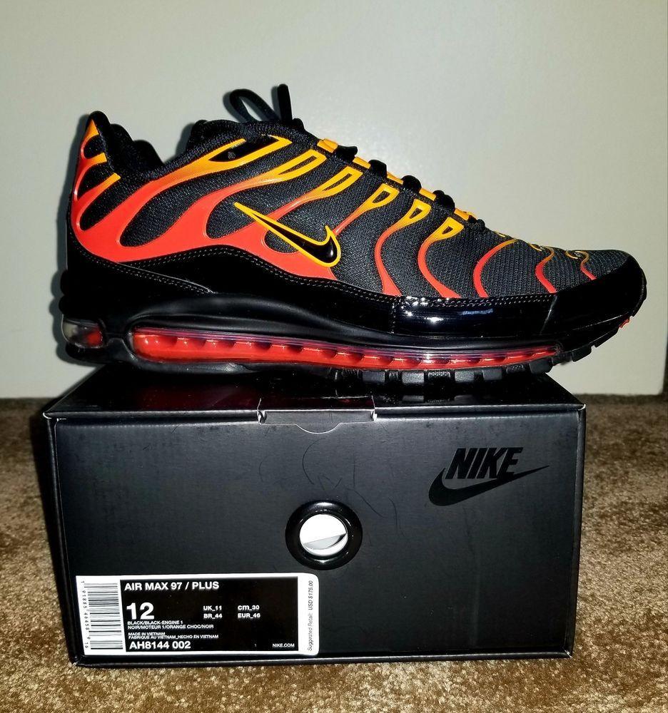 Nike Air Max Plus 97 Flames Tiger Orange Mens Size 12 Rare