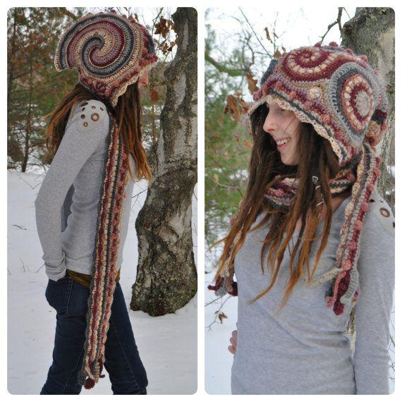 Winter Rose Freeform Crochet Hooded Scarf // Ooak Fiber by OfMars ...