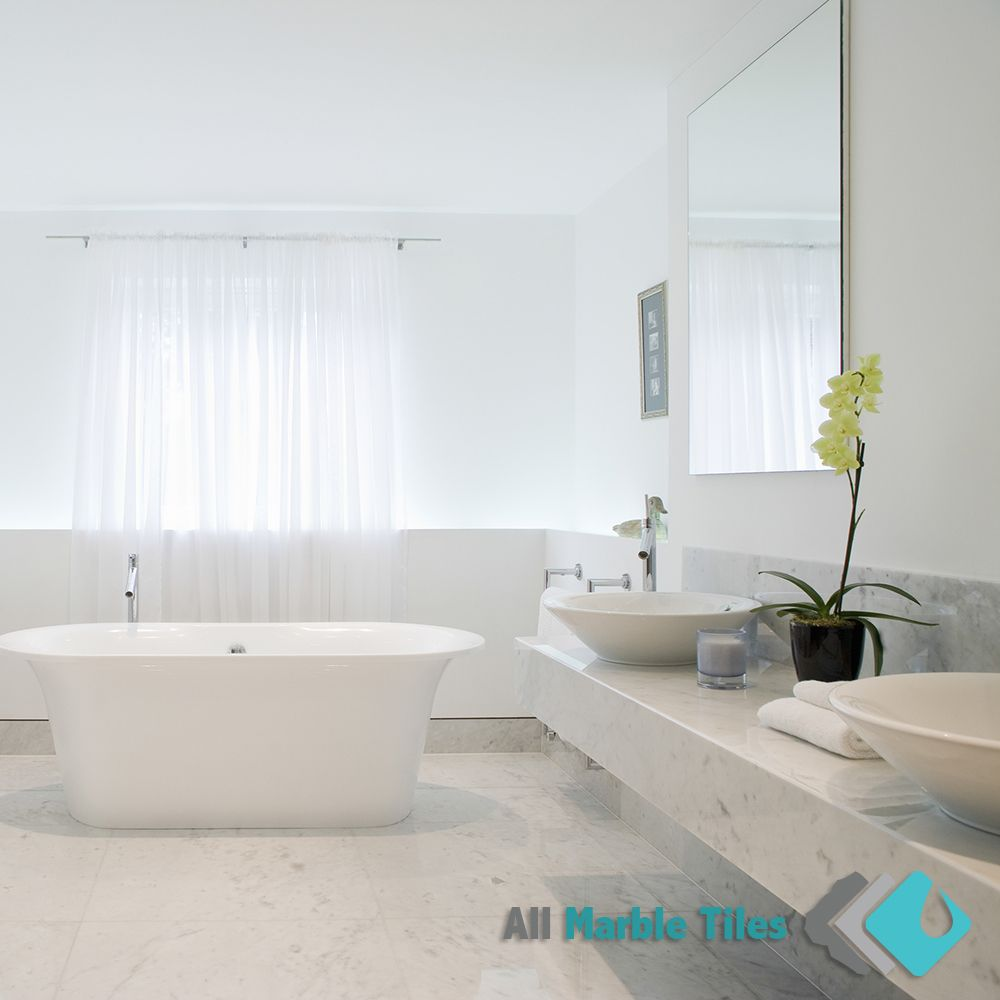 Bathroom Design with White Carrara Marble tiles and Mosaics from www ...