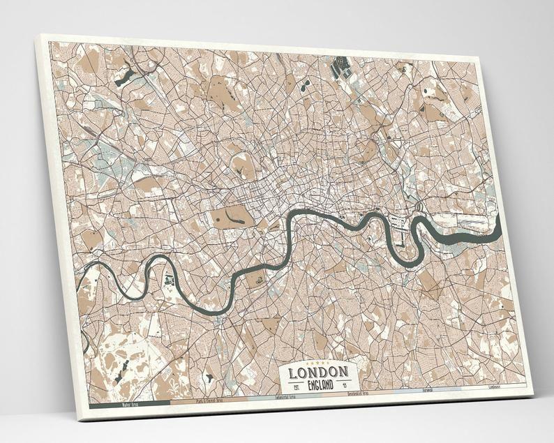 London England Canvas Print Map Retro Style Large Ready To Etsy Horizontal Wall Art Large Canvas Prints Retro Map