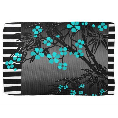 Elegant Teal Blue Blossom Black Asian Bamboo Kitchen Towel Zazzle Com Blue Placemats Teal Blue Placemats
