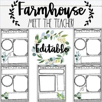 Farmhouse Editable Meet the Teacher #meettheteacherideas