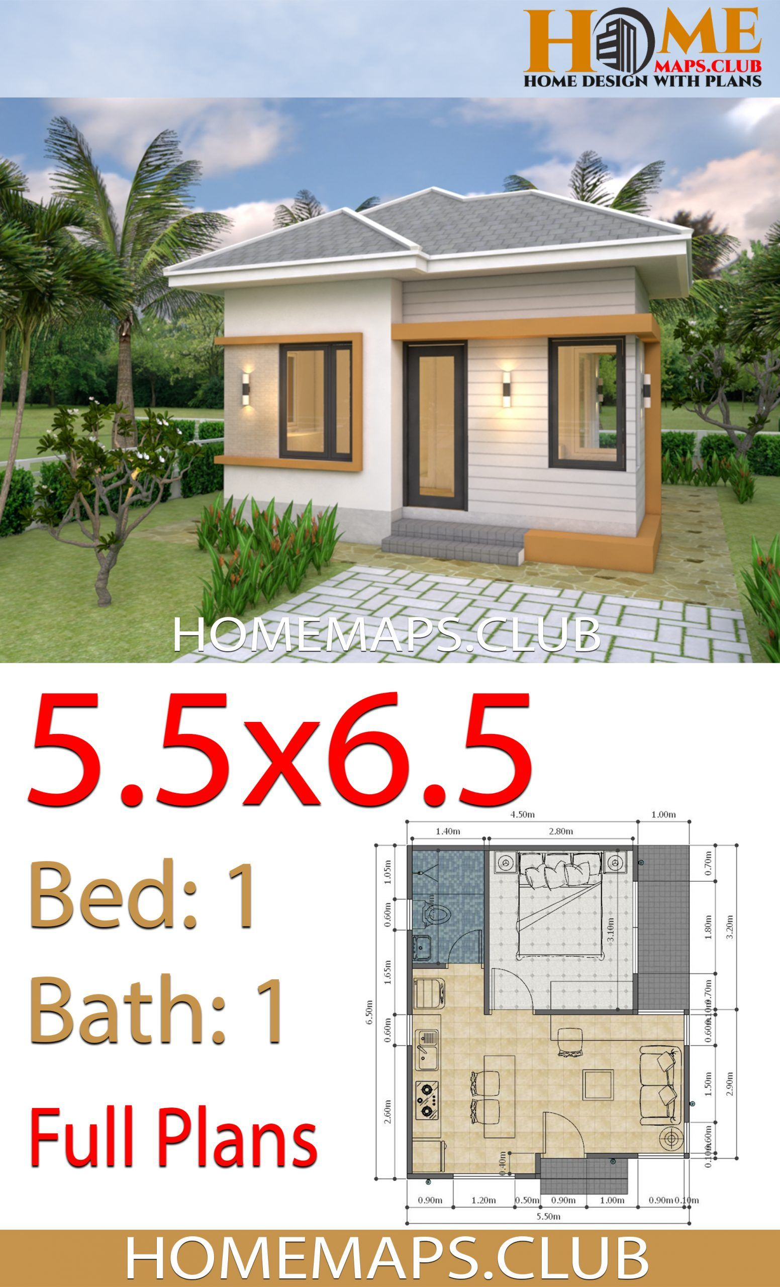 Small House Plans 5 5x6 5 With One Bedroom Hip Roof Small House Plans Small House Design Plans House Plans