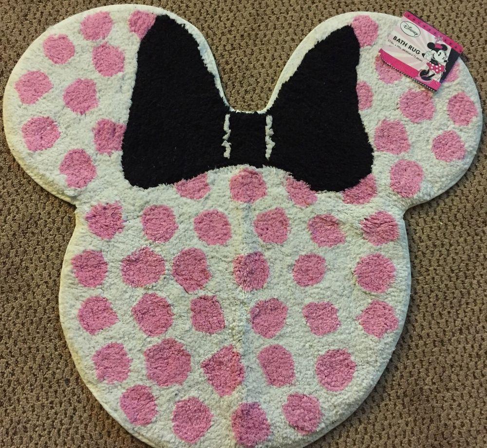 Disney Minnie Mouse Shape Polka Dot 27 X 29 Bathroom Rug Bath Mat Brand New Minnie Mouse Bathroom Tufted Rug Cotton Bath Rug