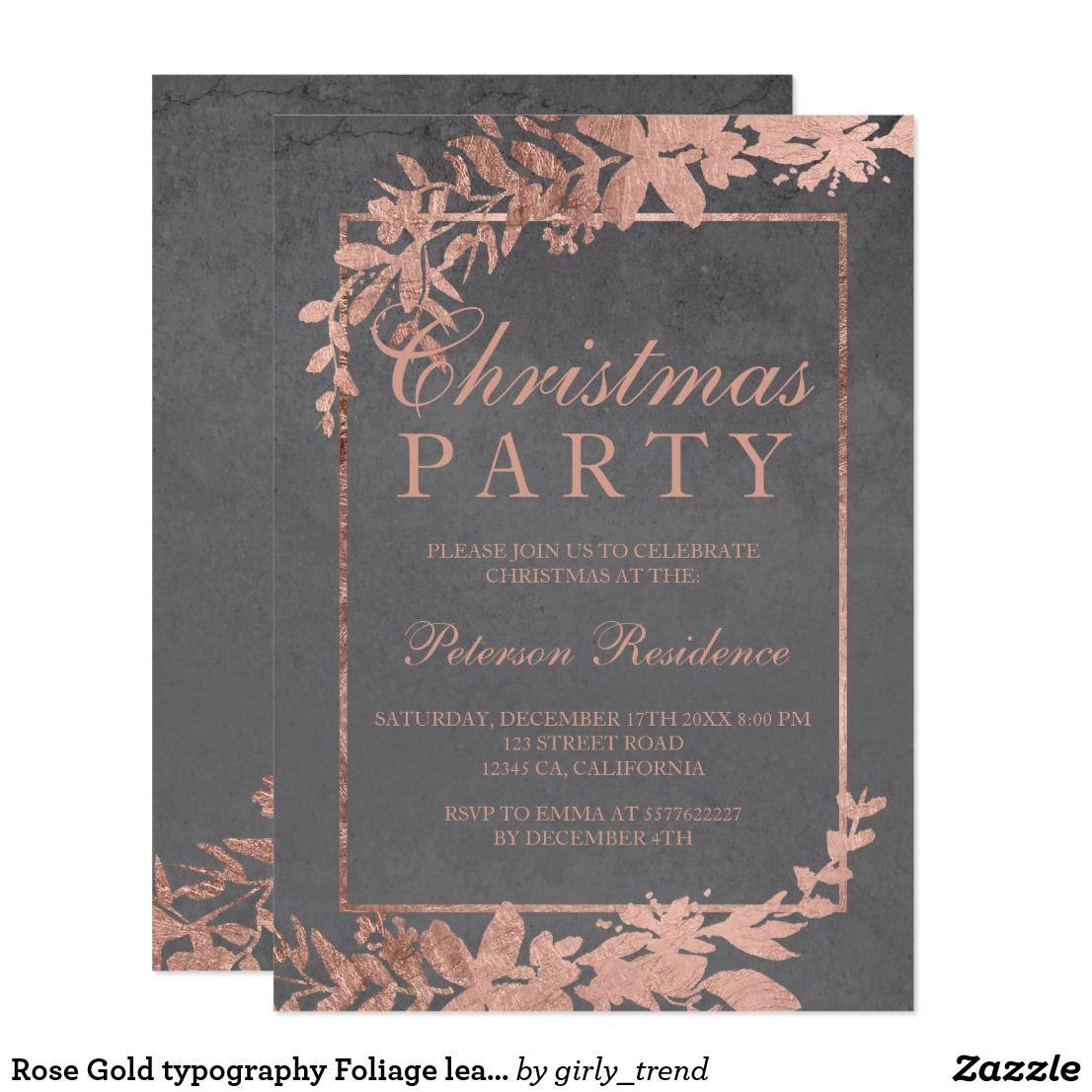 New Years Foliage >> Rose Gold Typography Foliage Leaf Grey Christmas Invitation Zazzle