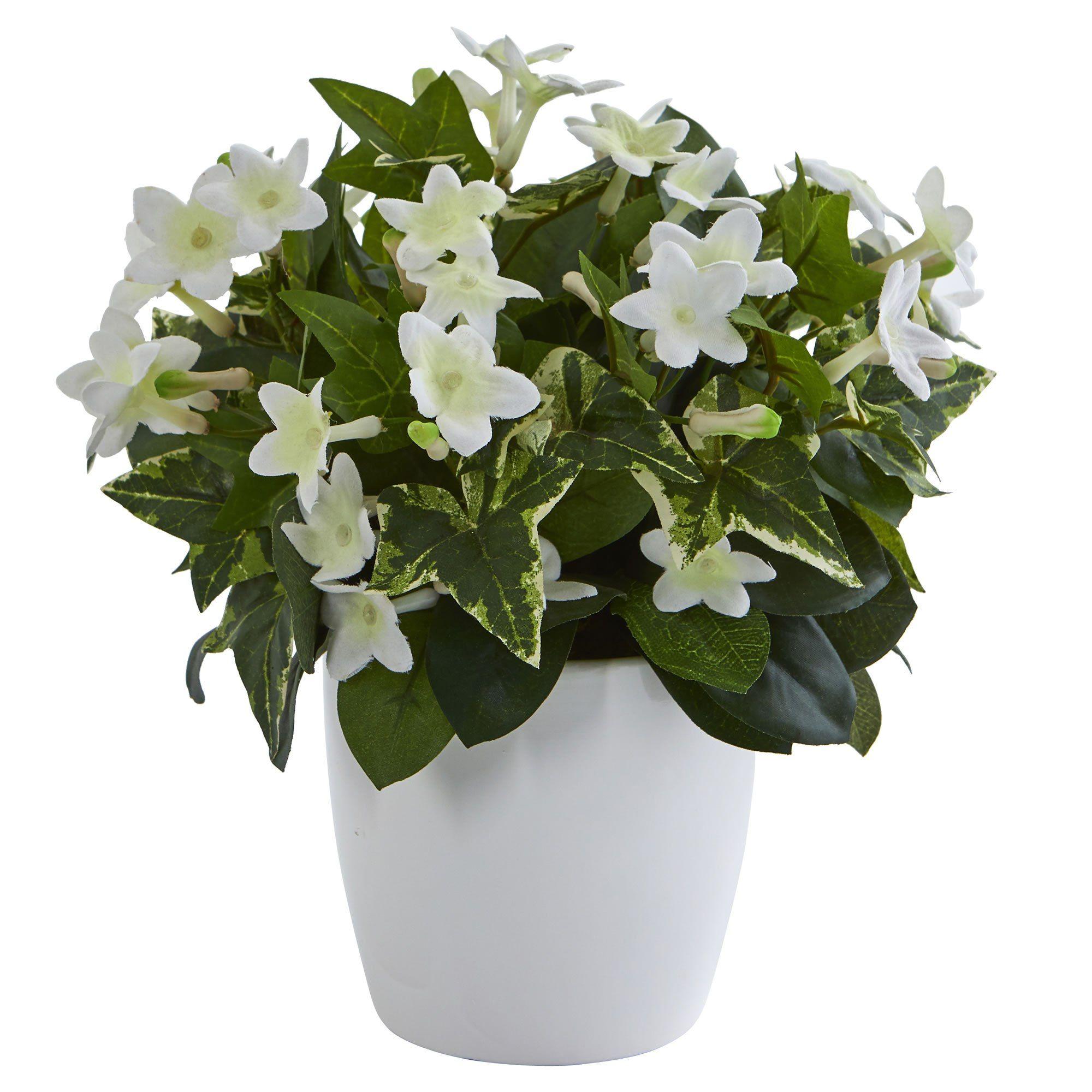 Stephanotis Artificial Plant In White Vase White Vases Artificial Plants White Planters