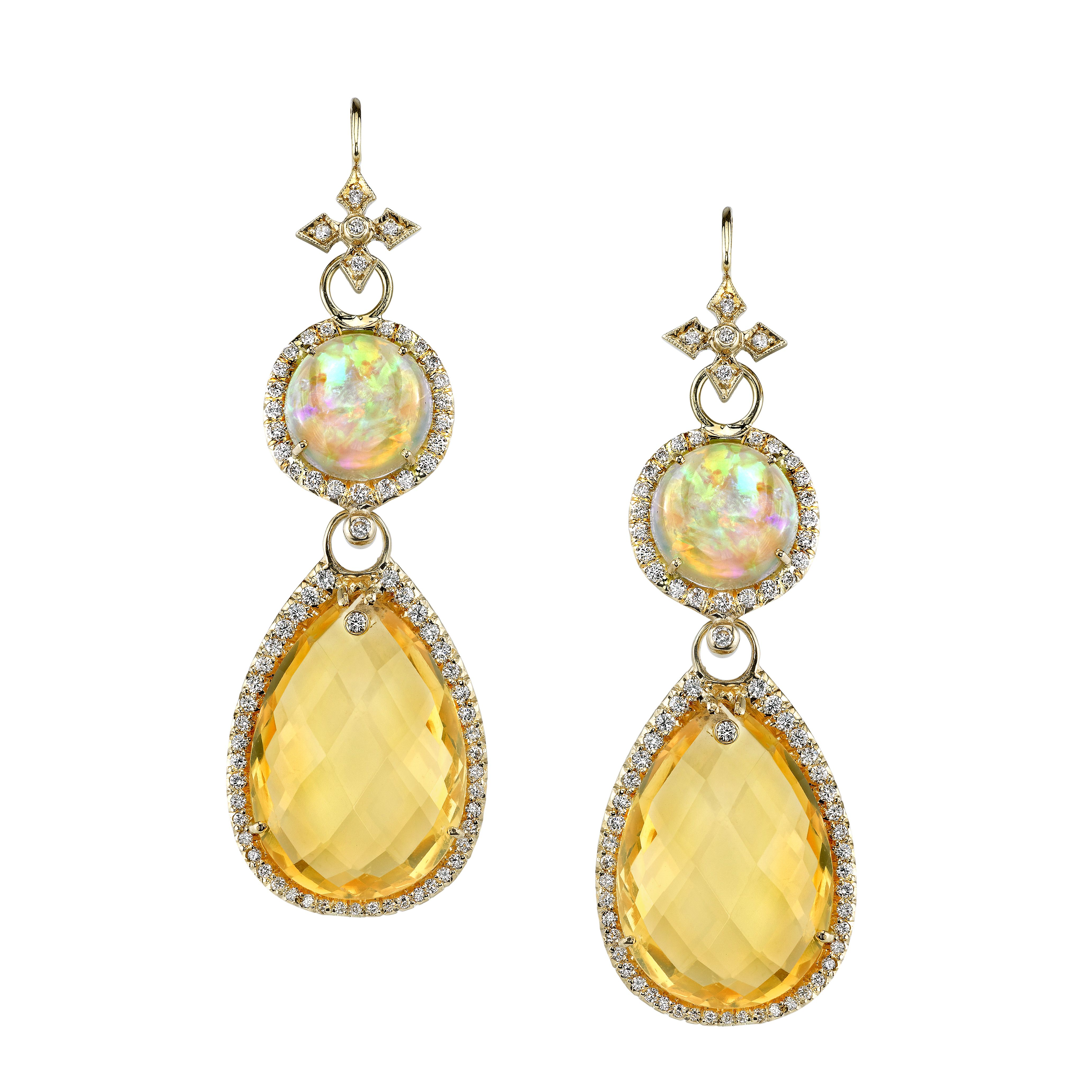 18k Gold and Diamond Opal Earrings by Erica Courtney®