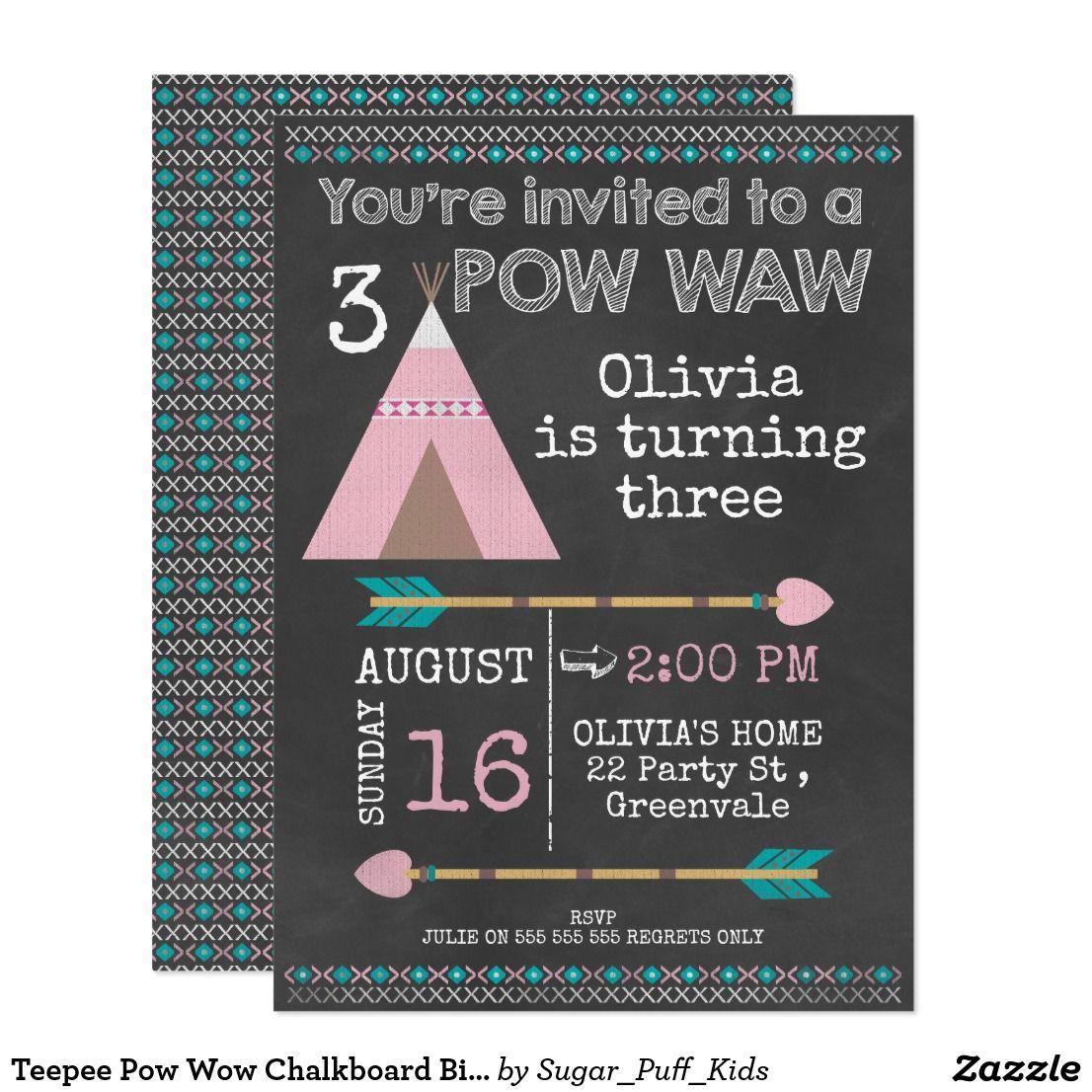 Teepee Pow Wow Chalkboard Birthday invitation | Chalkboard ...