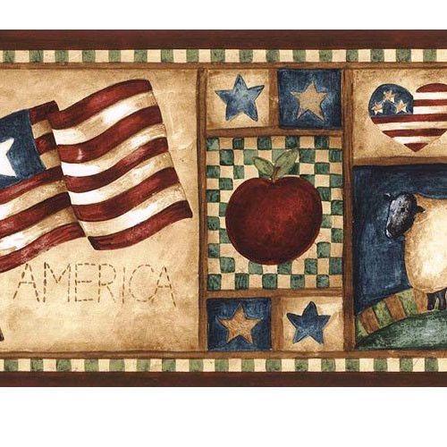 Americana American Flag Sheep Heart Apple Pear Tree Patriotic Wallpaper Border Norwall Patriotic Wallpaper Wallpaper Border Wallpaper