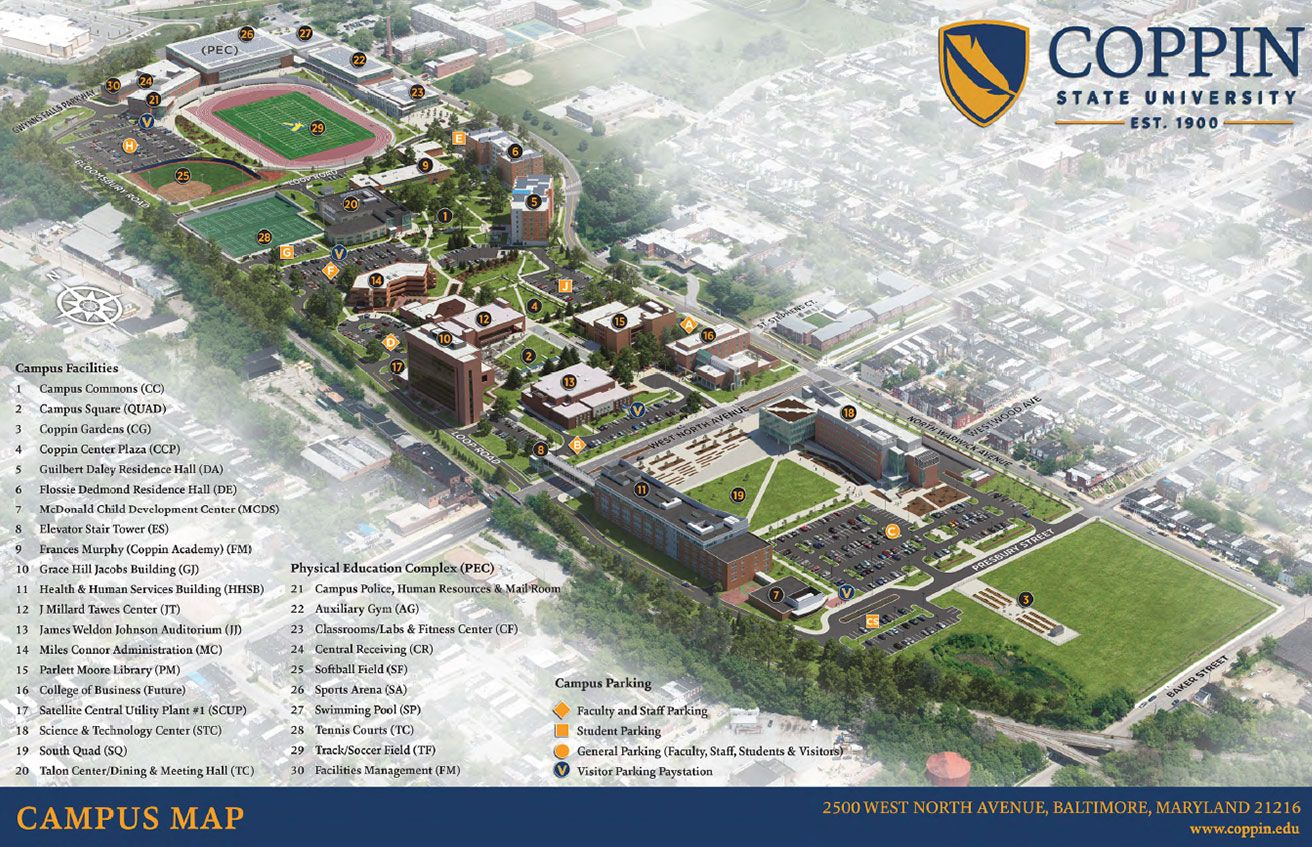 Norfolk State Campus Map.Coppin State University Campus Map Hbcus Midatlantic Ohio West
