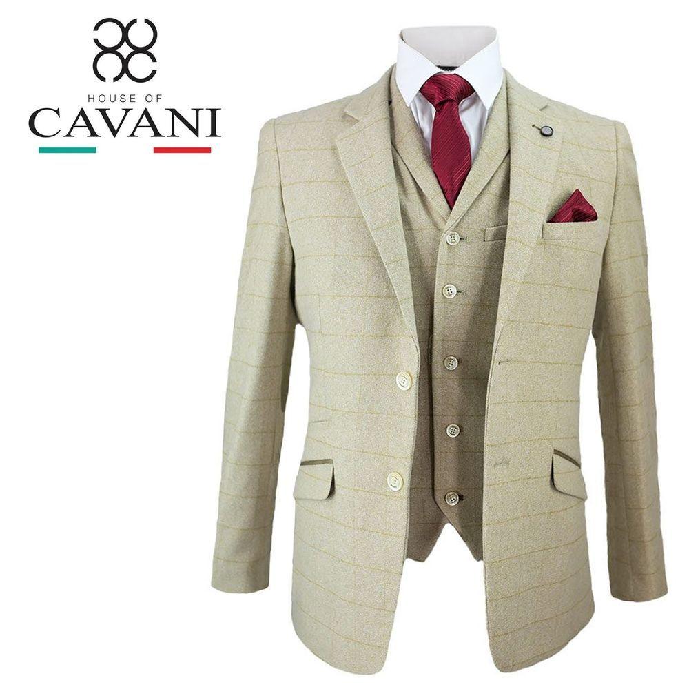 Cavani Mens Beige Tweed Blazer Waistcoat Trousers 3 Piece Suit Sold Separately