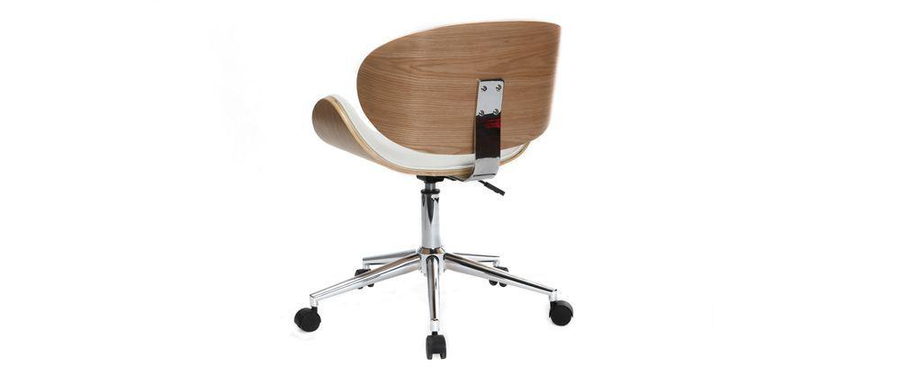 Chaise De Bureau Design Blanc Et Bois Clair Walnut Miliboo Chair Office Chair Home Decor
