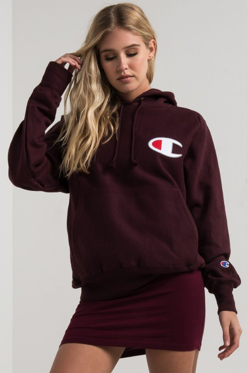 21a970f4 Front View Champion Womens Big C Reverse Weave Pullover Hoodie in Team  Maroon