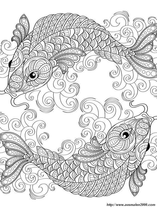 Ausmalbild Zwei Symmetrische Fisch Kostenlose Erwachsenen Malvorlagen Ausmalbilder Malbuch Vorlagen