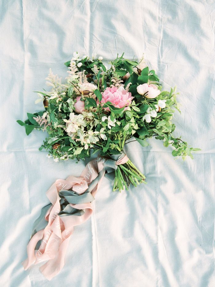 Bouquet with peonies, Astilbe, fritillyariey and flowering branches of apple emphasized | fabmood.com