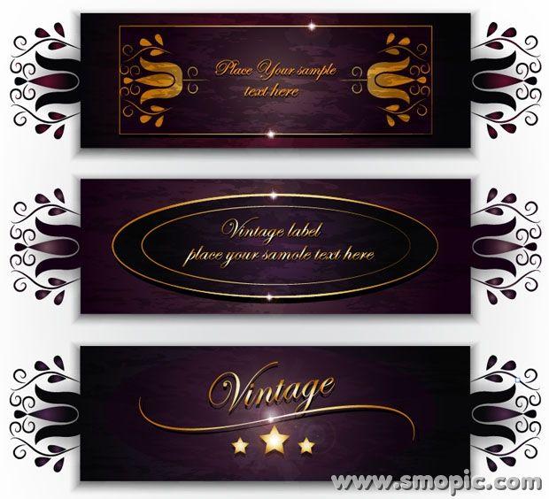 3 purple vector wine labels design template vintage labels EPS – Label Design Templates