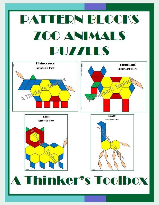 Pattern Blocks Zoo Animals Puzzles Pattern Blocks Zoo Animals