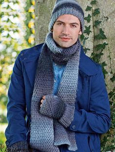 Mens hat scarf and mitts set crochet pattern free