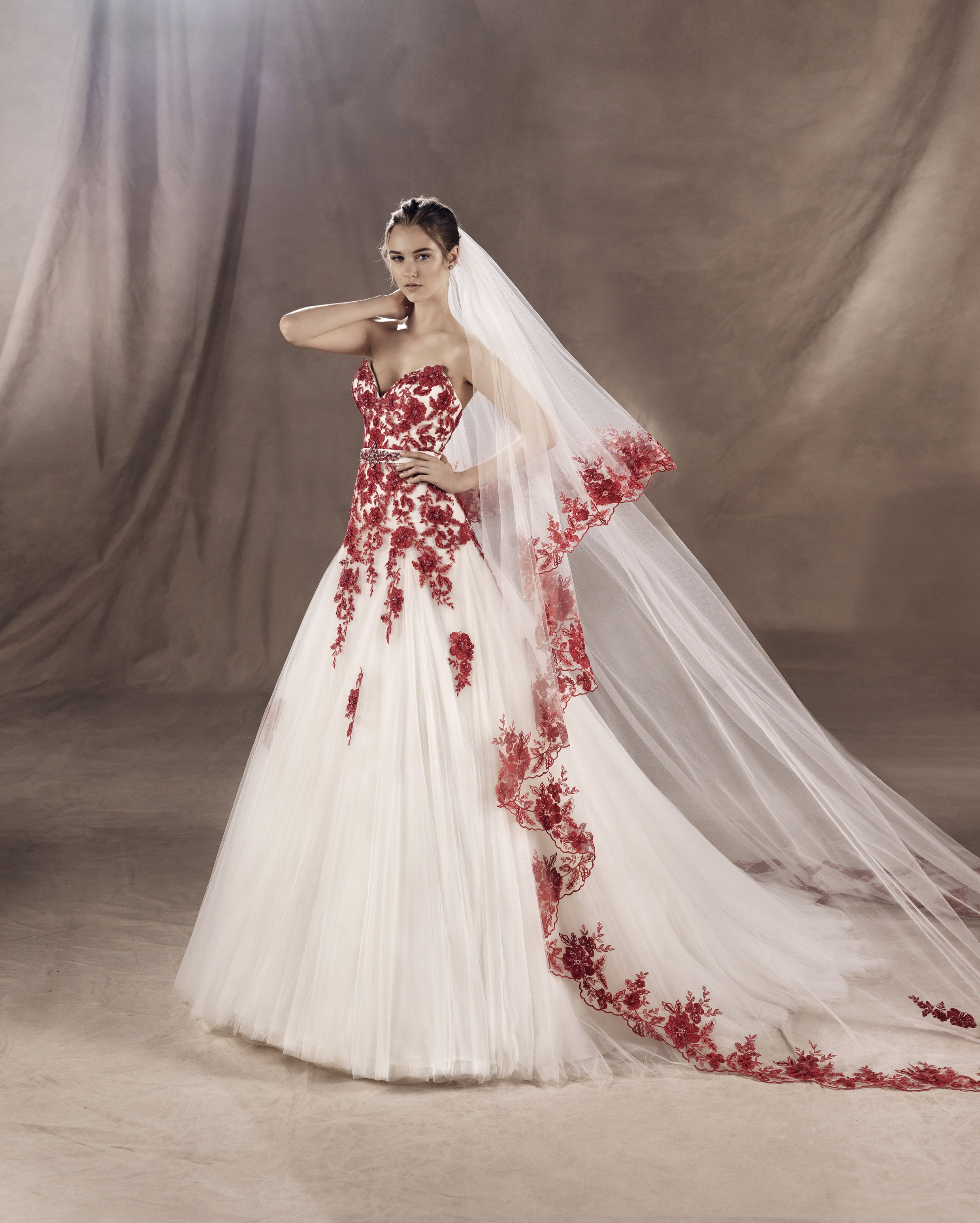 White One Collection Yula Red Wedding Dresses White Wedding