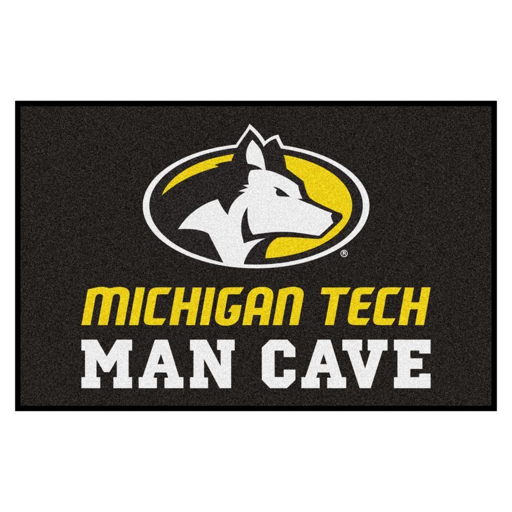 Fanmats Ncaa Michigan Tech University 19 In X 30 In Man Cave Starter Indoor Area Rug Team Color Man Cave Area Rugs Michigan Star Rug