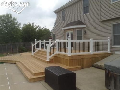 Pressure Treated Pool Deck With Vinyl Rail Deck Railing Pictures Deck Railings Custom Deck Railing
