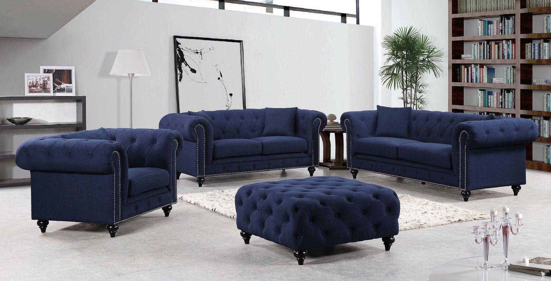 Chesterfield Navy Sofa 662 Meridian Furniture Fabric Sofas Furniture Sofa Set Corner Sofa Design Sofa Furniture