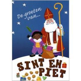 De groeten van... Sint en Piet (sinterklaas en zwarte piet met kadootjes) |  sinterklaaskaarten | Muller wenskaarten | Sinterklaas, Diy sinterklaas,  Zwarte piet