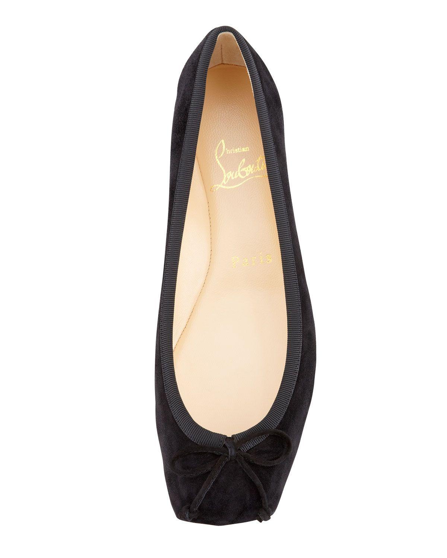 48185e1037b7 Christian Louboutin Rosel Suede Square-Toe Ballerina Flat