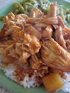 Crock pot Hawaiian chicken.  Use Targets Archer Farms Hawaiian Style BBQ sauce ($4.00) + 1 can pineapple chunks (drained).  Family really liked it.  And very easy, too.  Check her other slow cooker recipes.  (Aug. 2011)