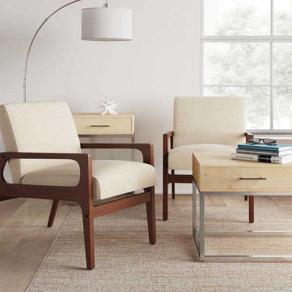Peoria Wood Arm Chair Tan Project 62 Wood Arm Chair