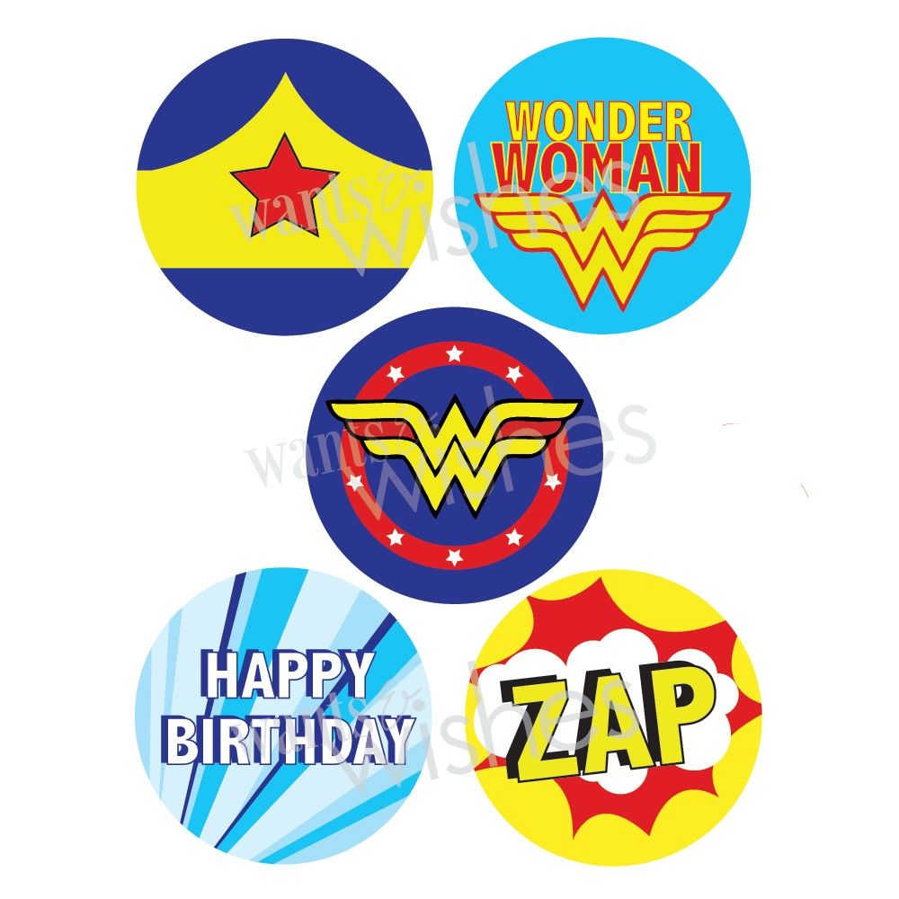 printable wonder women favor treat bag by wantsandwishesdesign