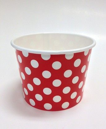 Ice Cream Cups Red Polka Dots 16 oz. Paper -- Sundae bar