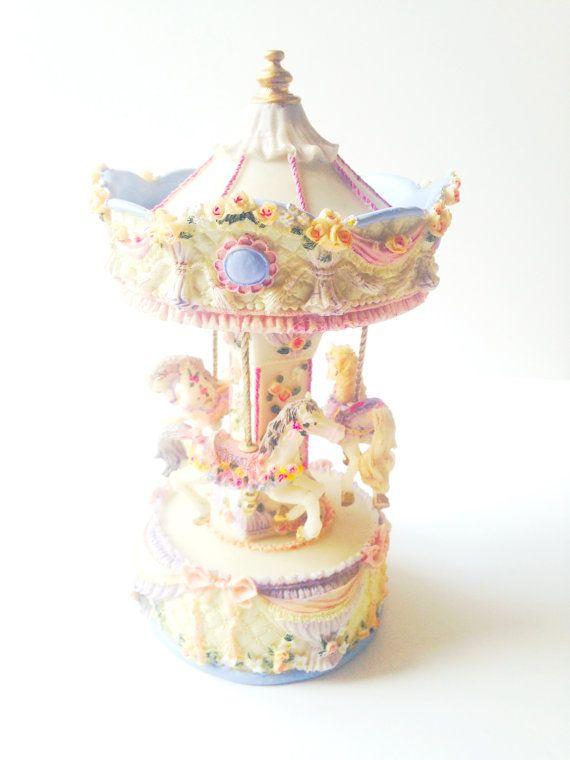 CAROUSEL MUSIC BOX Vintage resin carousel pastel by SophieLDesign