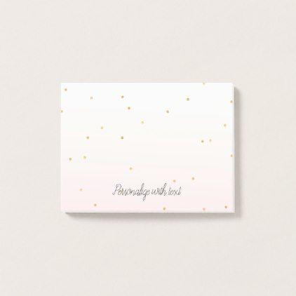 Blush Pink Gold Confetti Sparkle Ombre Post-it Notes Gold confetti - confeti