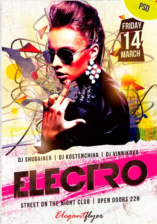 Free Psd Flyer  Electro Dj Party Psd Flyer Template HttpWww