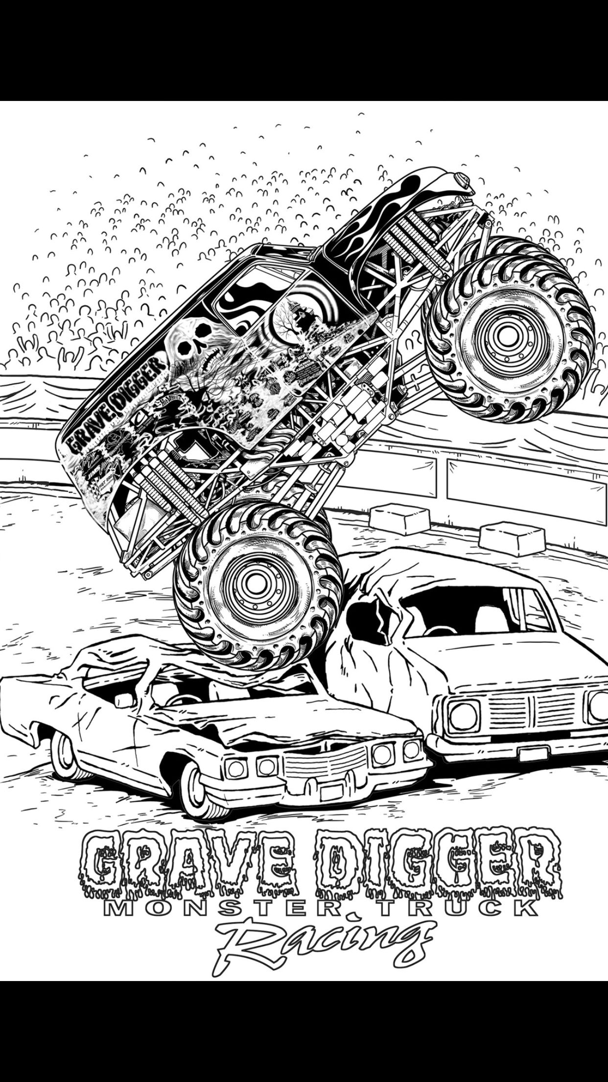 Grave digger | Car Toons | Monster truck coloring pages ...